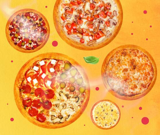 5 любых пицц за 1599 р